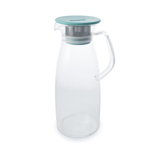 Our Ice Tea Jug is designed for a simple way of making the cold-steeping ice tea. The double ring silicone gasket ensures lid from falling off when serving. The 0.5 mm hole stainless-steel filter catches tea leaves and gives you smooth pouring. The filter and silicone gasket are easy to take apart for cleaning. True borosilicate hand blown glass can take hot water to ice cold water.The slow cold-water-steeping method extracts more natural sweetness and flavor from the tea leaf. It lessens the...
