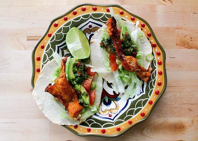 Crispy Chicken Skin Tacos with Habanero Salsa (Chicharron de Pollo)