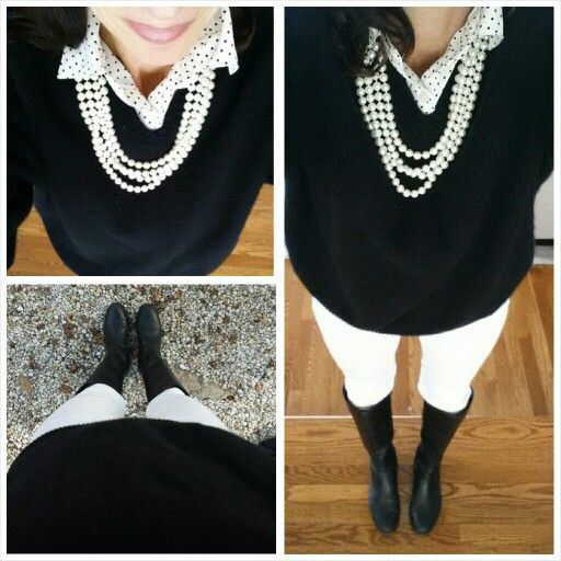#White winter #fashion makes me happy.  Especially with #polkadots blouse from #express #cashmere sweater from #bananarepublic skinny jeans from #americaneagle boots 2 years old.  Super long strand of pearls from #target on sale for $1.00