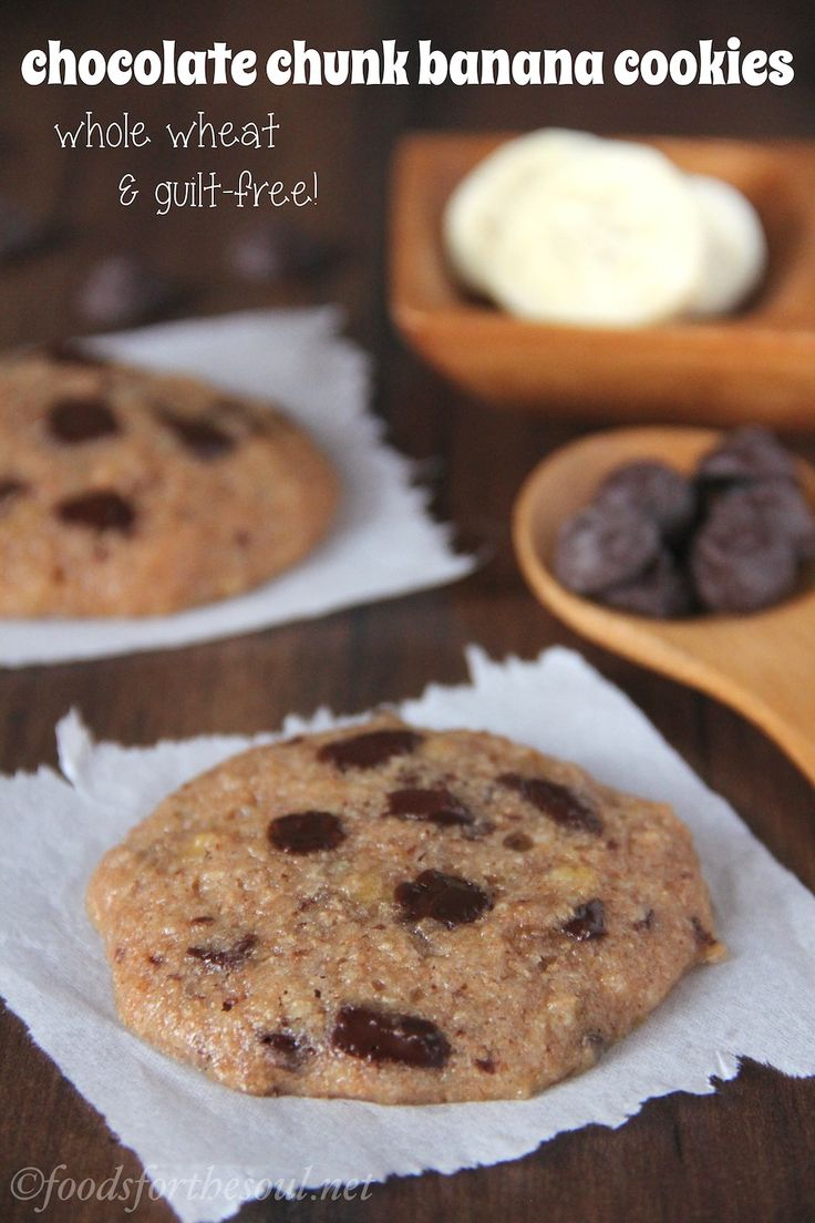 Chocolate Chunk Banana Cookies -- unbelievably soft & chewy! An easy ...