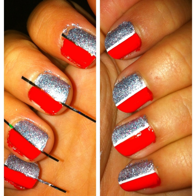 Nail art, using nail tape. | Nails/Makeup/Hair | Pinterest