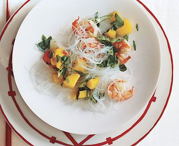 Shrimp, Mango, & Rice Noodles Shrimp and Mango Salad with Glass ...
