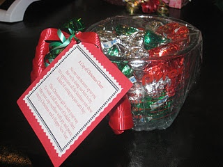 Measuring cup with candy  A Cup of Christmas Cheer  No one can measure up to you  But we're doing our best to try,  We appreciate all the kindness you show  A kind of caring you just can't buy.  This Christmas gift is sent your way  To wish a full measure of holiday cheer,  May your cup overflow with joy and peace.