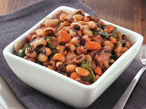 Slow-Cooker Black Eyed Peas and Greens | Recipe