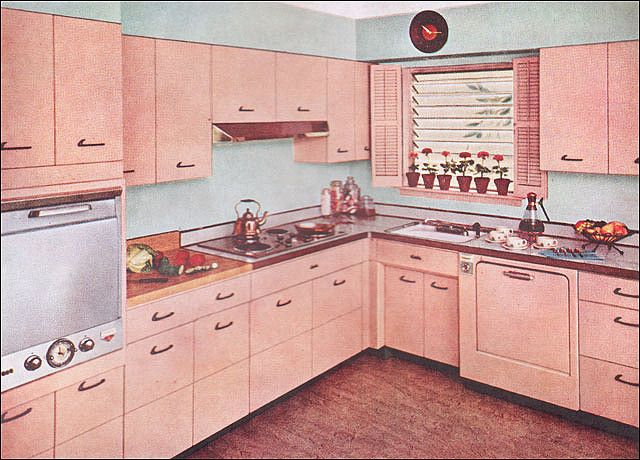 1955 Kitchen with Capitol Steel Cabinets by American Vintage Home, via