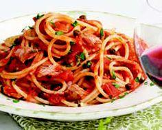 Tuna and Caper Tomato Sauce with Spaghetti