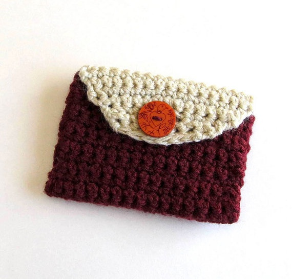 Crochet Coin Purse Card Holder in Dark Red by MaisonChantalMichael, $8 ...