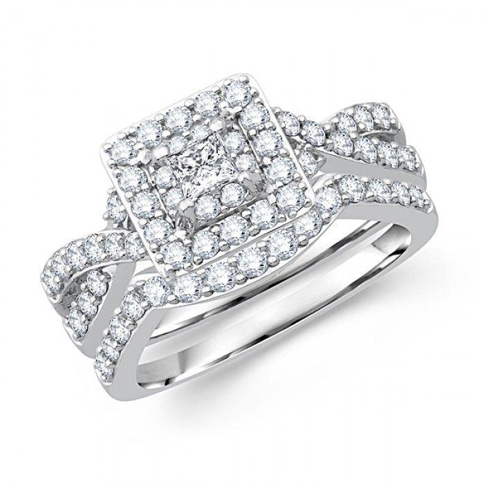 ... .mybridalringRings14k-princess-cut-diamond-bridal-ring-set