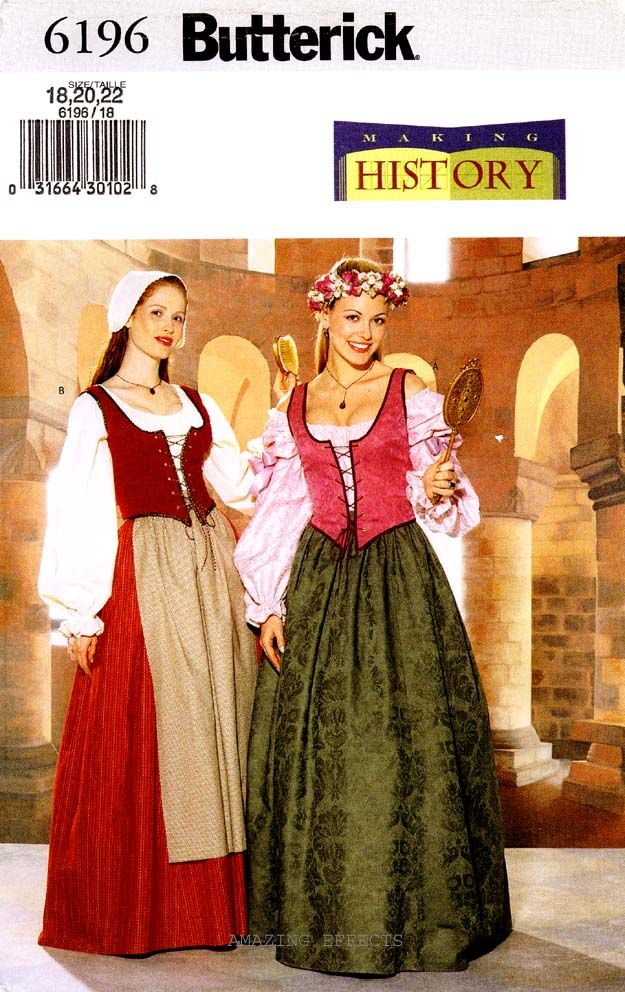 butterick pattern 6196 womens renaissance costume 1822