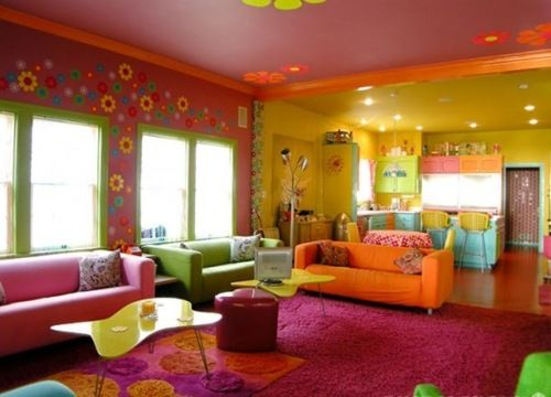 Deliciously coloured living space.