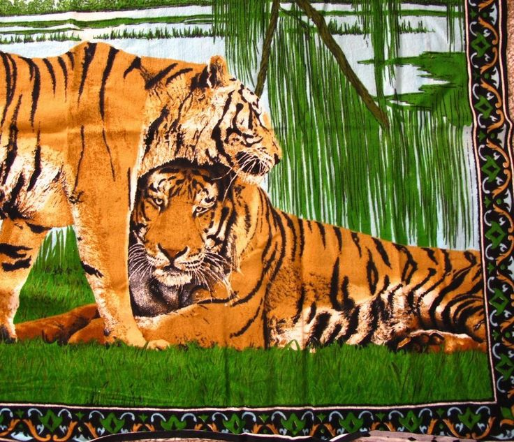 Tiger Scene Vintage Wall Hanging Rug Tapestry 37x52