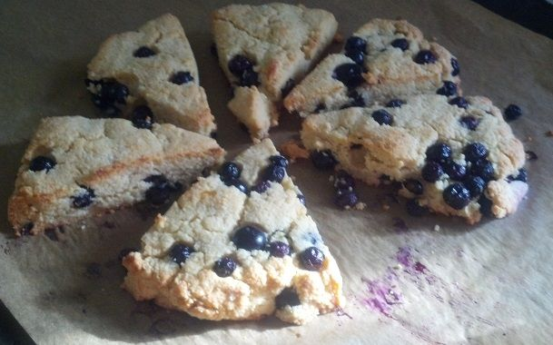 blueberry scones: 2 cups of almond flour, 1/4 cup of oat bran fiber, 2 ...