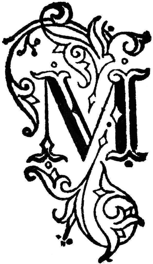 Decorative letter m clipart etc calligraphy pinterest