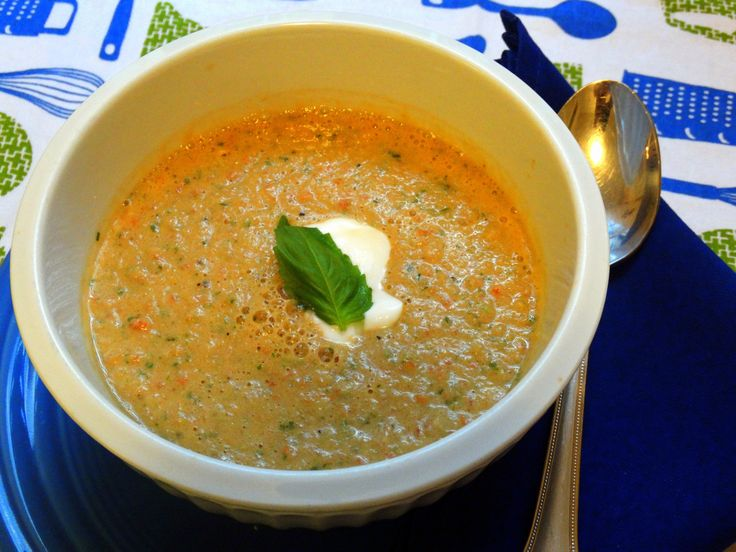 Tangy Cold Tomato Basil Soup   Recipes   Pinterest