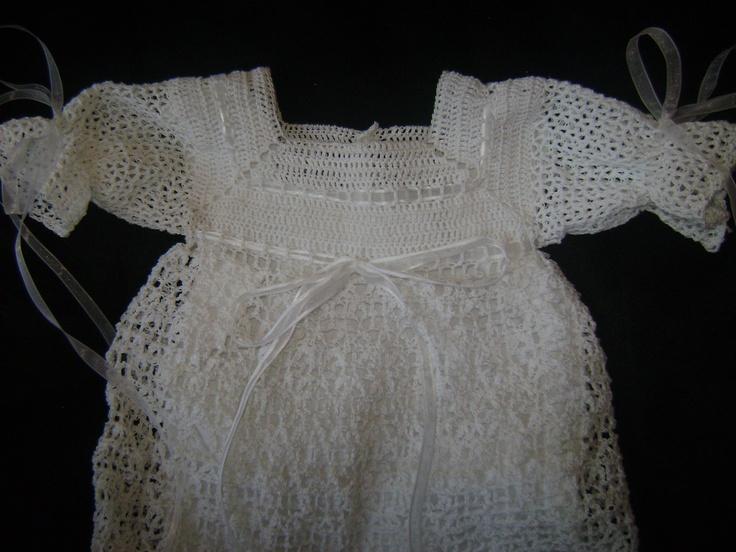 Crochet Pattern For Christening Gown : Heirloom Butterfly Lace Christening Gown Crochet Pattern (953)