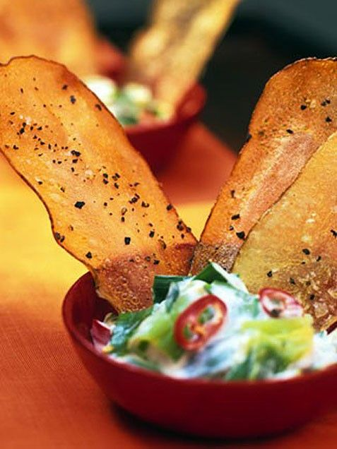 Warm Scallion Dip with Salt and Pepper Potato Chips - this is a party ...
