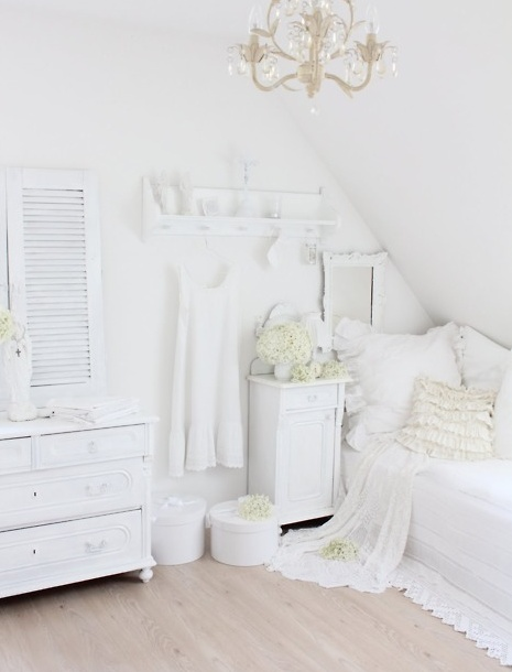all white attic bedroom  Decorating : General Likes  Pinterest