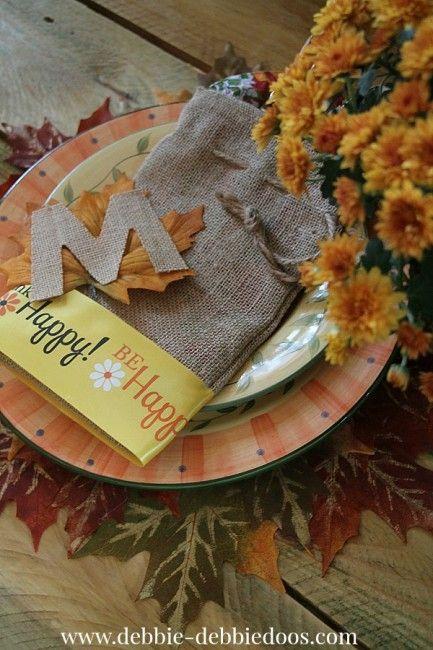 Burlap utensil holders for Thanksgiving
