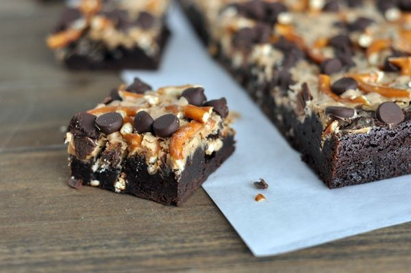 Pretzel and Toffee Peanut Butter Chocolate Brownies | Recipe