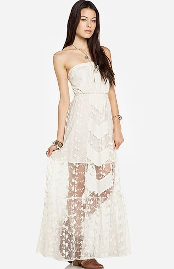 Line amp dot embroidered lace tube maxi dress not this color and not