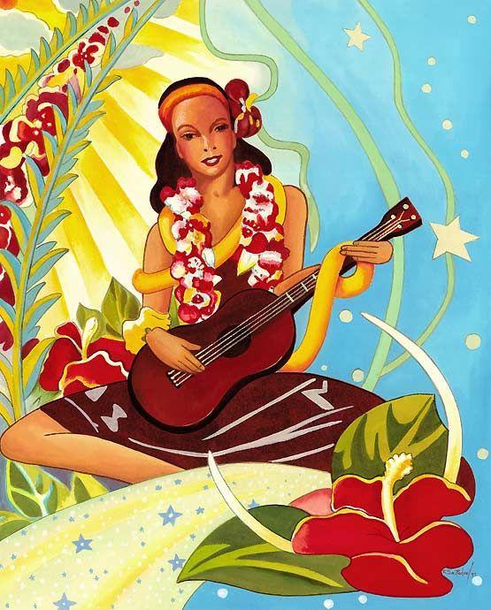 Fun vintage Hawaiian print for your upstairs bathroom  The website has    Vintage Hawaiian Ukulele