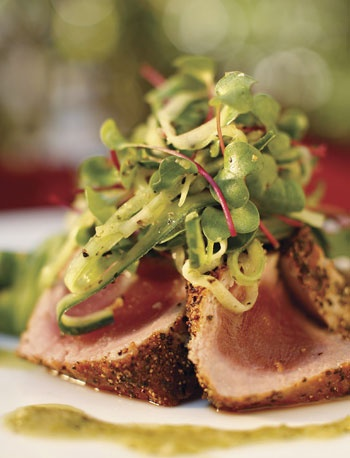 Sesame encrusted tuna with microgreens | {Fab} For Foodies | Pinterest