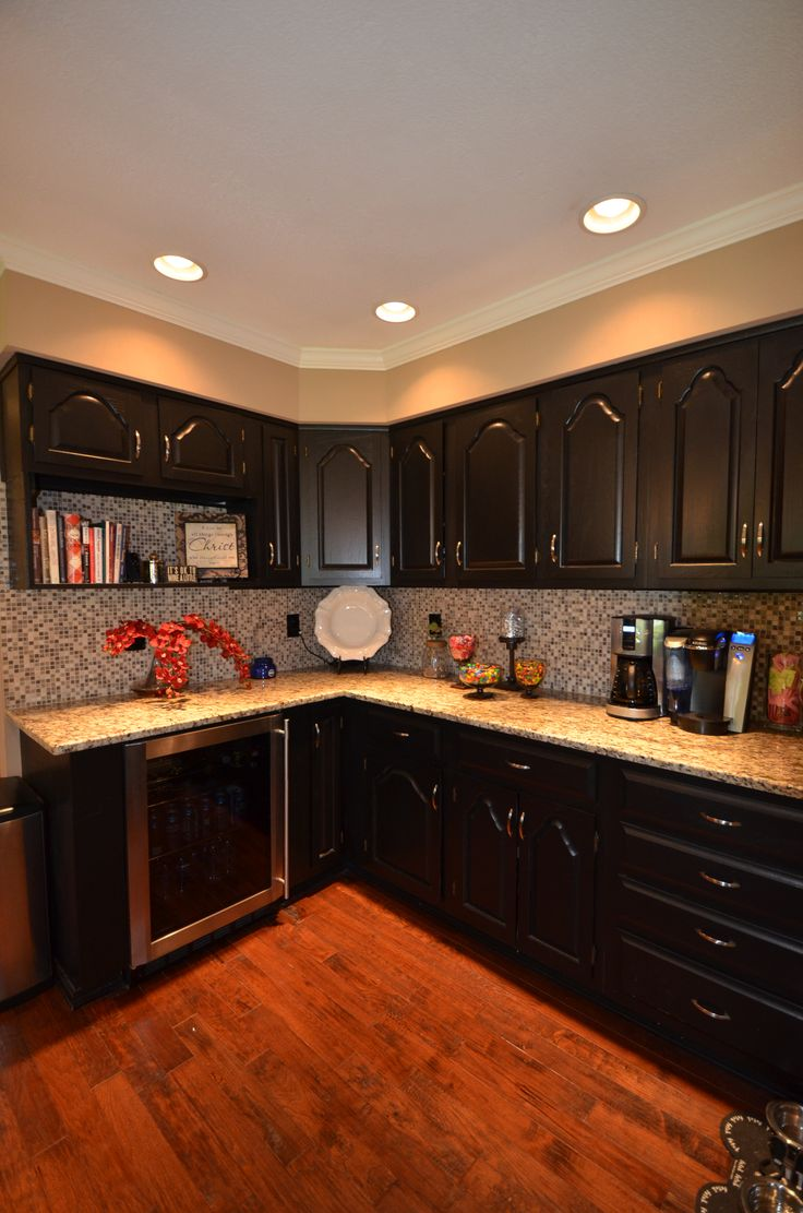 Oak cabinets painted black kitchen pinterest for Black painted kitchen cabinets