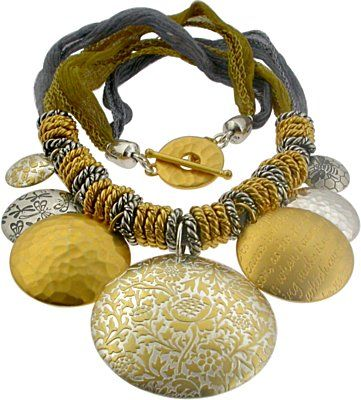 Gold Batik Pendant Necklace is a great way to get a Jumpstart on Oversized Jewelry in 2013! Get all your parts here http://www.ninadesigns.com/jewelry_design_ideas/gold_batik_pendant.html#