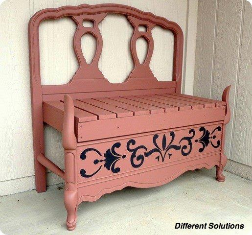 Bench made of recycled headboards home ideas pinterest for Recycled headboards