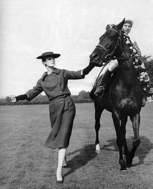A model sporting Dior for a Harper's Bazaar spread, 1957. #vintage #fashion #1950s #jockey #horse