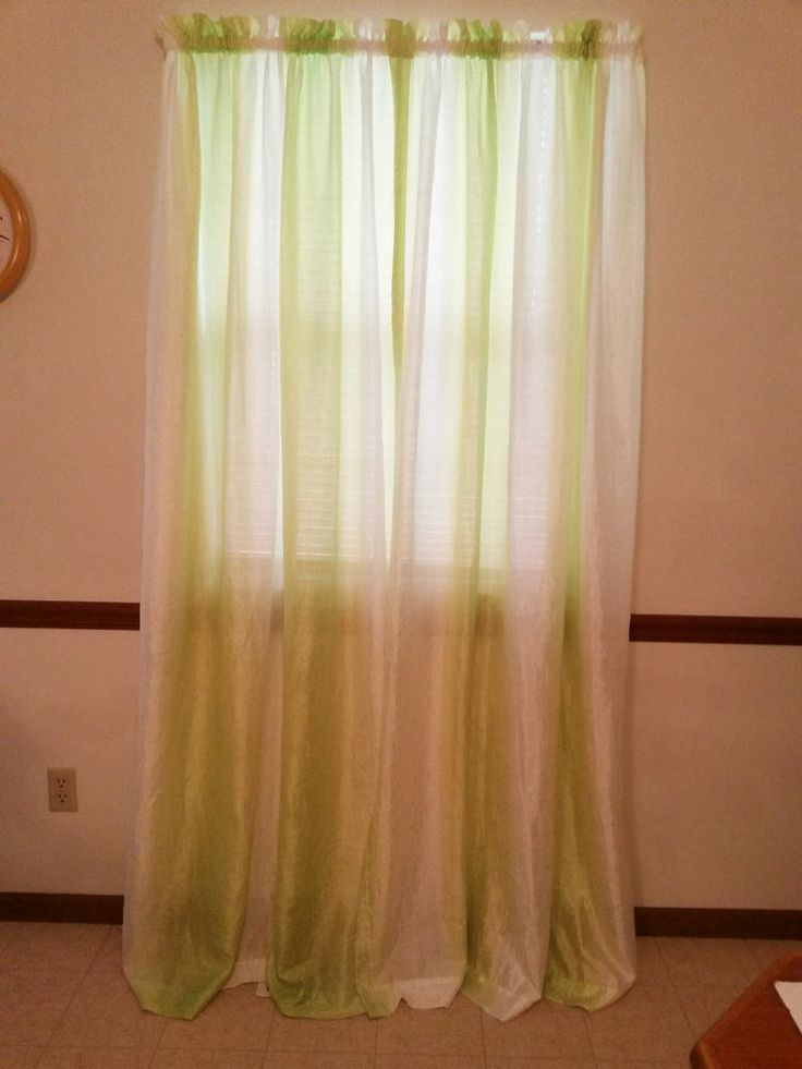 Your zone sheer textured curtains 2 panels lime green white each panel