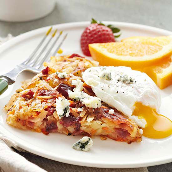 Corned beef, blue cheese, and beets make these Red Flannel Hash Browns ...