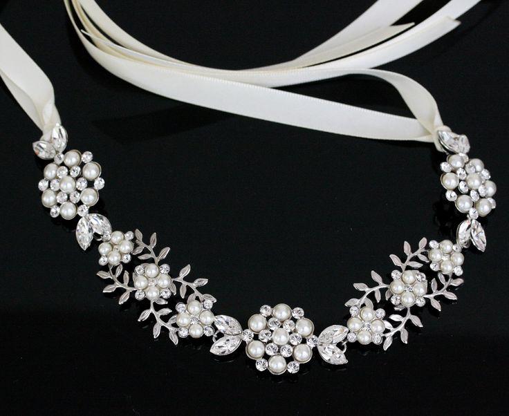 wedding headband ribbon headband bridal headband pearl rhinestone ha