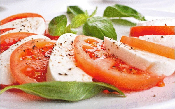 ... tomatoes, fresh mozzarella and basil salad with olive oil and balsamic