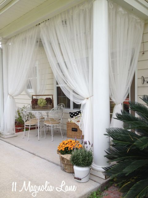 Sheer curtains on back porch  Garden  Pinterest