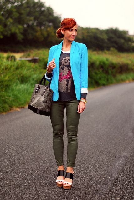 Turquoise blazer, khaki skinnies by Not Dressed As Lamb, via Flickr
