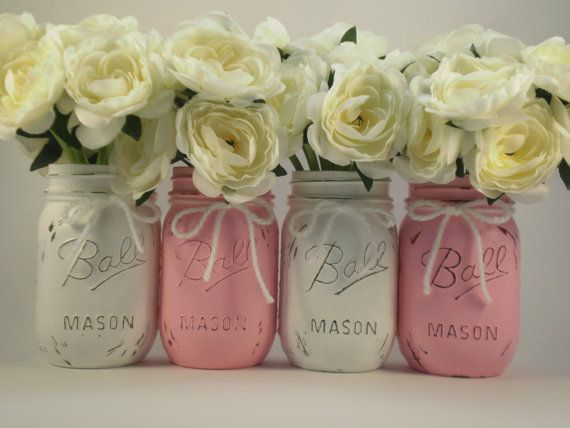 baby shower centerpiece mason jar centerpiece shabby chic mason jar