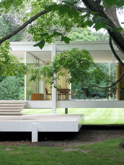 geometric modern - farnsworth house by mies van der roh
