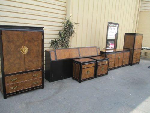 50772 Century Furniture Oriental Bedroom Set High Dresser Nightstand