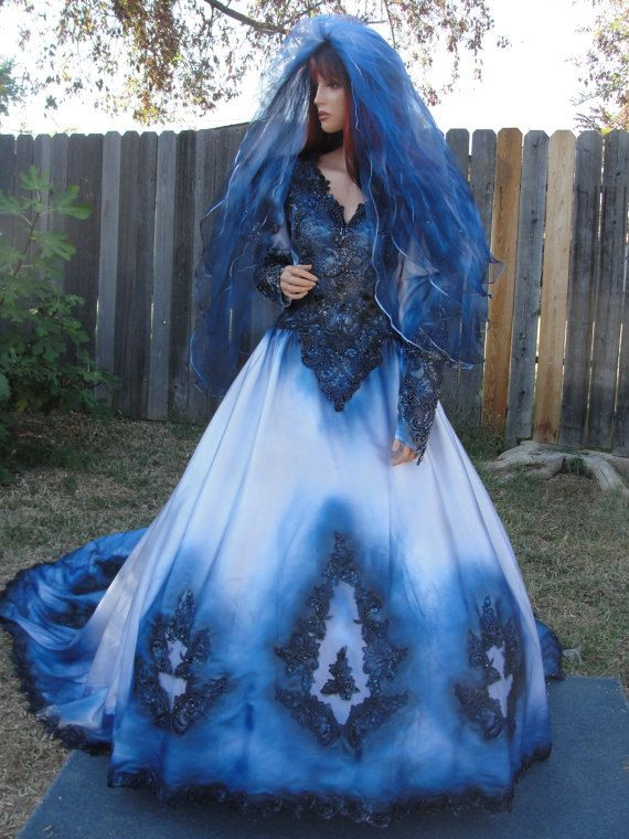 Blue and black metalic wedding gown with matching veil for Blue gothic wedding dresses