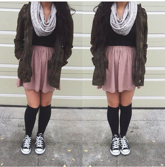 parka skirt brandy meville knee high socks converse