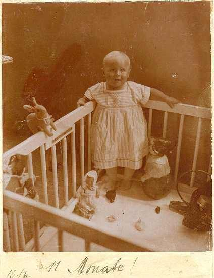 2 old Photos of Baby with Dolls. Ca. 1915