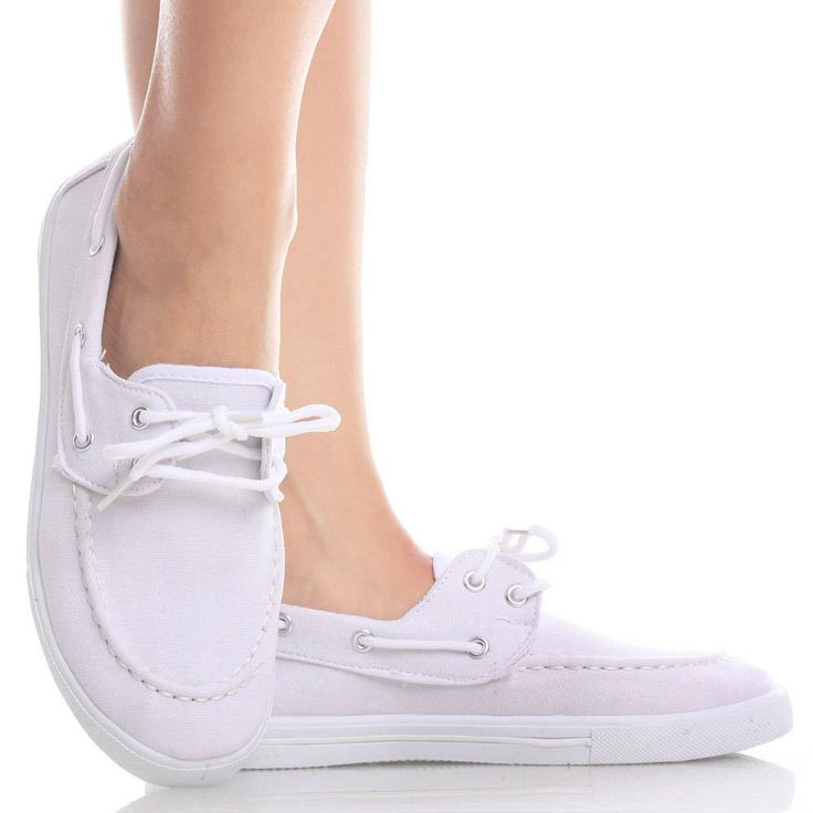 White-Canvas Round Toe Nautical Boat Loafer Sneaker Low Mid Heel Shoes