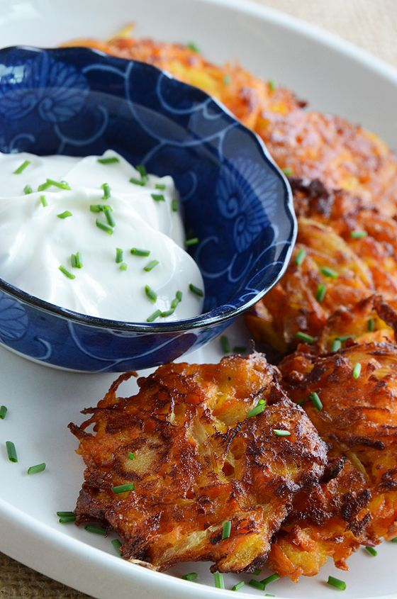 Carrot-Apple Latkes (No sour cream for me and I would substitute the ...