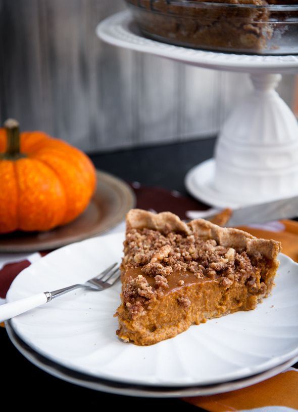 lighter pumpkin pie with walnut crumble topping (almond milk, egg, egg ...
