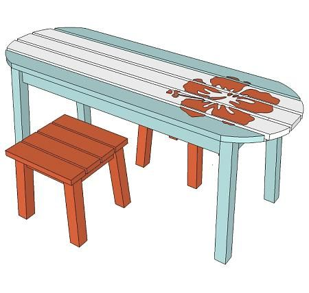 Surf board table for the little boys' room.