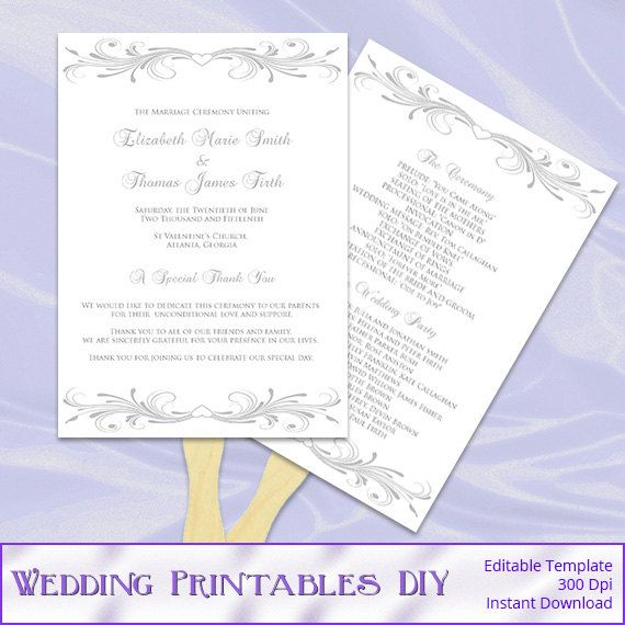 silver wedding fan program template diy printable gray ceremony pro