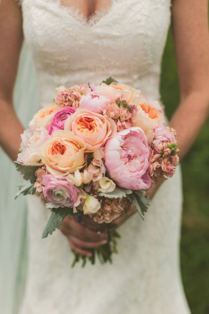 Peach Garden Rose Bouquet ranunculus, stock, eryngium thistle hand tied wedding bouquet