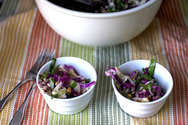 cabbage and lime salad with roasted peanuts (try adding a little honey ...