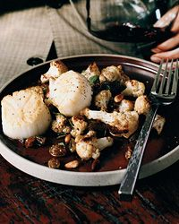 Scallops with Roasted Cauliflower and Raisins Recipe from Food & Wine
